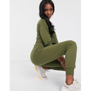 ASOS DESIGN tracksuit cropped sweat / corset waist jogger-Green  - Green - Size: 18