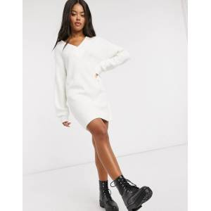 ASOS DESIGN V neck chunky mini dress-Cream  - Cream - Size: 18