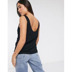 ASOS DESIGN viscose scoop neck vest in black  - Black - Size: 18