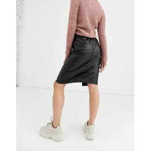 Bershka faux leather midi skirt in black  - Black - Size: Medium