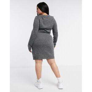 Brave Soul Plus Grungy Round Neck Jumper dress-Grey  - Grey - Size: 18