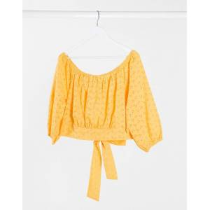 Brave Soul Plus marinda broderie puff sleeve top in yellow  - Yellow - Size: 18
