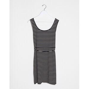 Brave Soul Plus pallas striped button through jersey dress with tie waist in black  - Black - Size: 18