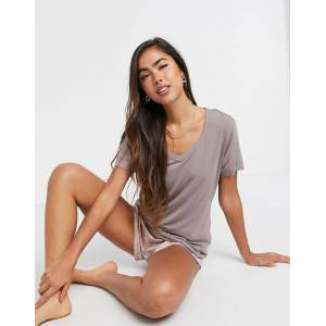 Calvin Klein loungewear short sleeve t shirt in chai latte-Beige  - Beige - Size: Extra Small