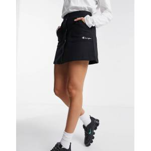 Champion logo button thru skirt-Black  - Black - Size: Large