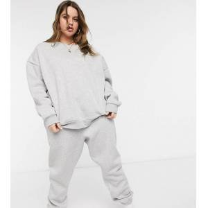 Chelsea Peers Curve organic cotton heavy weight lounge jogger in grey marl  - Grey - Size: 18