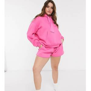 Chelsea Peers Exclusive Curve organic cotton heavy weight lounge shorts in candy pink  - Pink - Size: 18