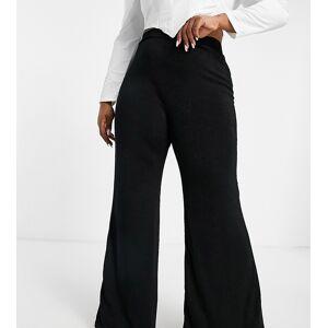 Club L London Plus high waist flare trouser in black  - Black - Size: 22