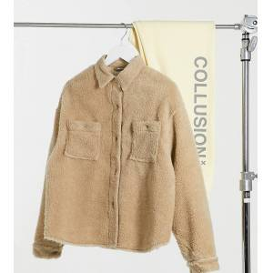 COLLUSION borg shacket in beige  - Beige - Size: 18