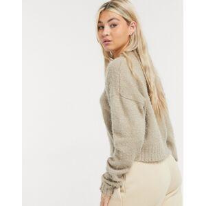 COLLUSION boxy jumper in fluffy yarn in beige-Black  - Black - Size: 18