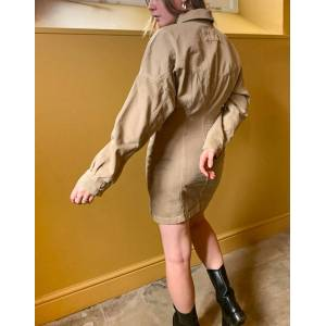 COLLUSION denim corset dress in tan-Brown  - Brown - Size: 4