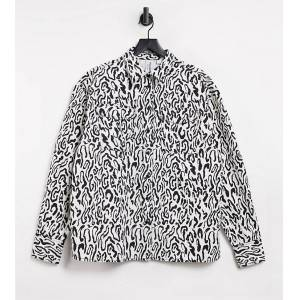 COLLUSION Unisex shacket in animal print co-ord-Beige  - Beige - Size: Extra Small