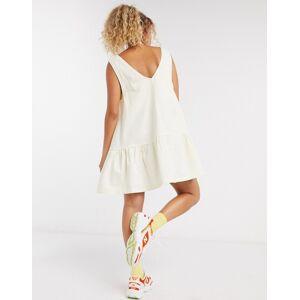 COLLUSION v neck drop hem smock mini dress in twill-Beige  - Beige - Size: 18