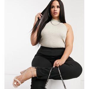 Fashionkilla Plus knitted choker top co ord in oatmeal-Beige  - Beige - Size: 18