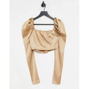 Femme Luxe plunge front puff sleeve corset top in camel-Tan  - Tan - Size: 14