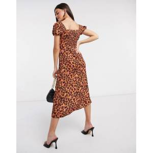 French Connection animal printed dress in orange-Multi  - Multi - Size: 10