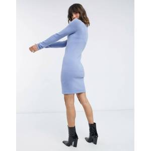 French Connection Babysoft Crew Neck Short Dress in Blue  - Blue - Size: Extra Small
