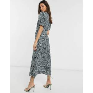 French Connection button front leopard print maxi dress-Green  - Green - Size: 6