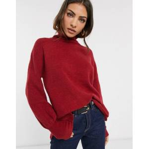 French Connection Orla Flossy balloon sleeve high neck jumper in wool blend-Red  - 25219733985 - Size: Large