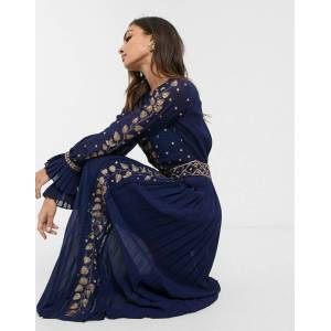 Frock And Frill Frock & Frill embellished detail long sleeve maxi dress-Navy  - Navy - Size: 6