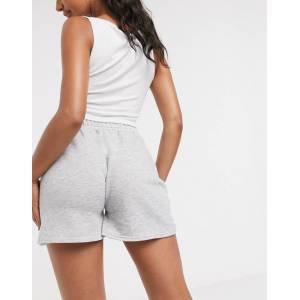 I Saw It First highwaisted jersey short in grey melange  - Grey - Size: 18