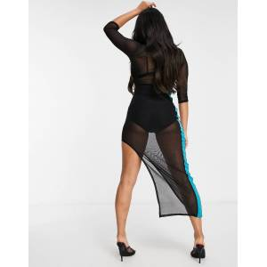 I Saw It First mesh stripe maxi dress in black  - Black - Size: 6