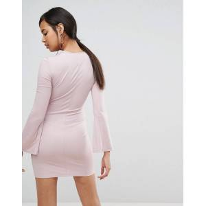Ivyrevel Split Long Sleeve Jersey Mini Dress-Pink  - Pink - Size: Large