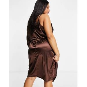 Jaded Rose Plus wrap midaxi satin dress in chocolate brown  - Brown - Size: 20
