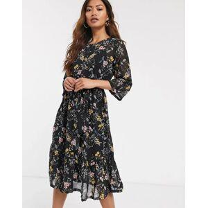 JDY chiffon midi dress in black floral-Multi  - Multi - Size: Large