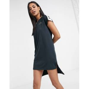Kappa dip hem dress in black  - Black - Size: Large