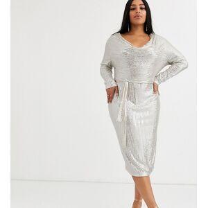 Lavish Alice Plus cowl neck sequin mesh midi dress in silver  - Silver - Size: 20