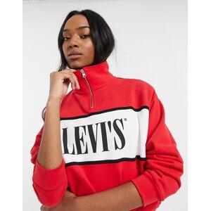 Levi's half zip logo sweatshirt-Red  - Red - Size: Medium
