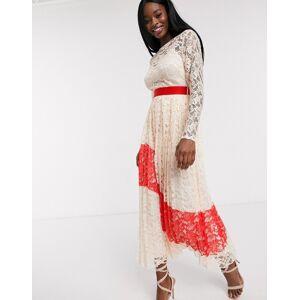 Little Mistress contrast lace pleated midi dress-Pink  - 25895482451 - Size: 10