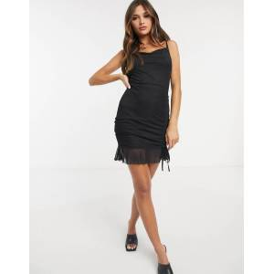 Love & Other Things gathered mesh mini dress in black  - Black - Size: 6