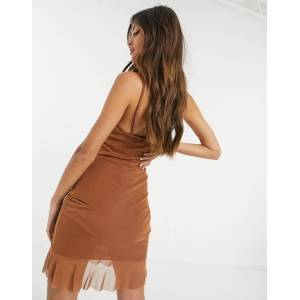 Love & Other Things gathered mesh mini dress in brown  - Brown - Size: 14