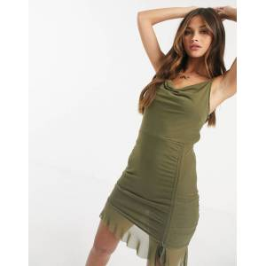Love & Other Things gathered mesh mini dress in khaki-Green  - Green - Size: 12