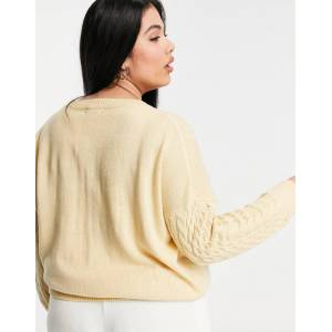 M Lounge Curve relaxed jumper in cable knit-Beige  - Beige - Size: 18