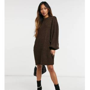 M Lounge relaxed knitted jumper dress-Brown  - Brown - Size: Large