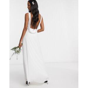 Maids to Measure bridal cowl back chiffon dress-White  - White - Size: 14