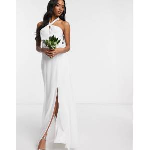 Maids to Measure bridal halter neck chiffon maxi dress with back detail-White  - White - Size: 16