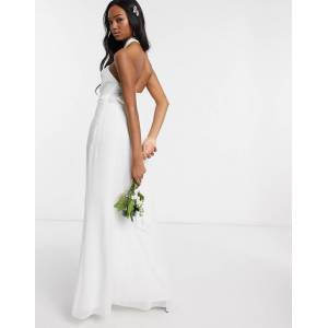 Maids to Measure bridal halter neck chiffon maxi dress with back detail-White  - White - Size: 10