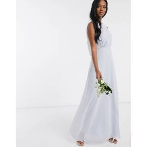 Maids to Measure bridesmaid cowl back chiffon dress-Blue  - Blue - Size: 6