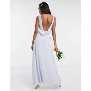 Maids to Measure bridesmaid cowl back chiffon dress-Blue  - Blue - Size: 14