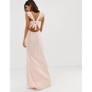 Maids to Measure bridesmaid maxi dress with button front detail and tie back-Pink  - Pink - Size: 18