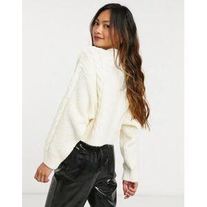 Mango cable knit jumper in ecru-Cream  - Cream - Size: Medium