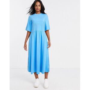 Monki Agnete organic cotton jersey short sleeve trapeze dress in bright blue  - Blue - Size: Large
