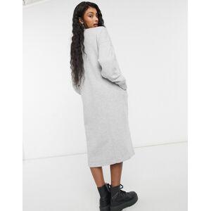Monki Coba organic cotton knitted midi dress in grey  - Grey - Size: Large