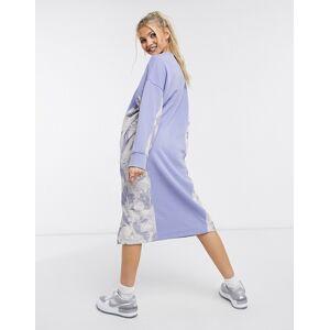 Monki Coba organic cotton knitted side print midi dress in light blue  - Blue - Size: Large