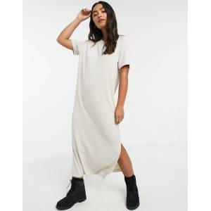 Monki Isabella midi t-shirt dress in beige  - Beige - Size: Extra Small