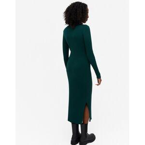 Monki Lemla rib long sleeve midi dress in green  - Green - Size: Large